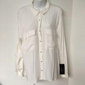 Zara Blouse Beige Button Up Chest Pockets Side Slits 100% Viscose Size XL
